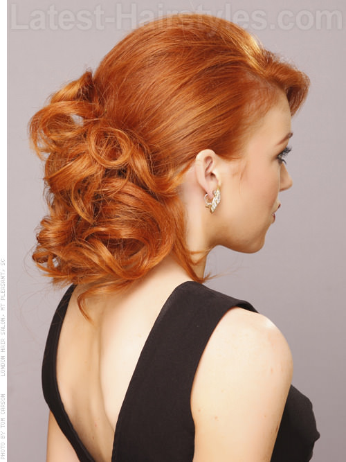 Pin Curled Pony Red Loose Easy Prom Hairstyles