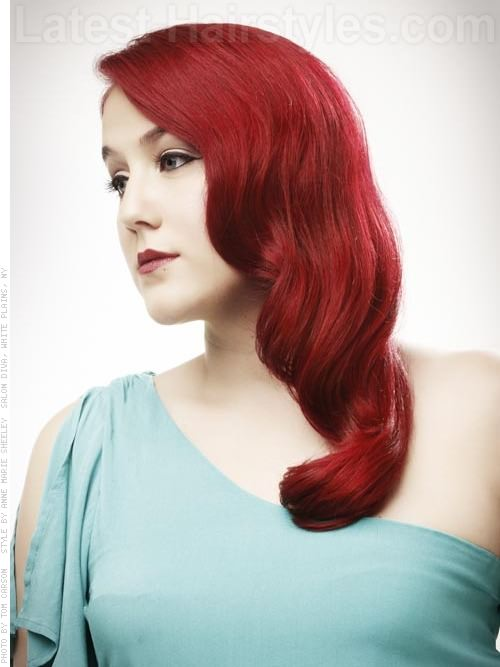 Retro Glamour Styled Waves Side Part - View 2