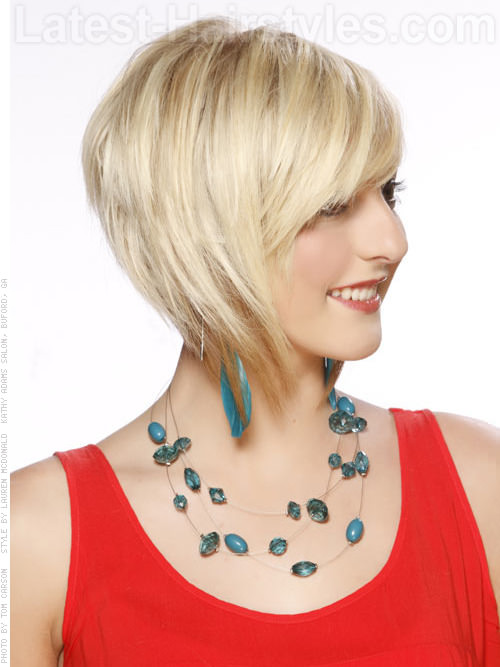 Round Brushed Bob with Swoopy Bangs - Side View