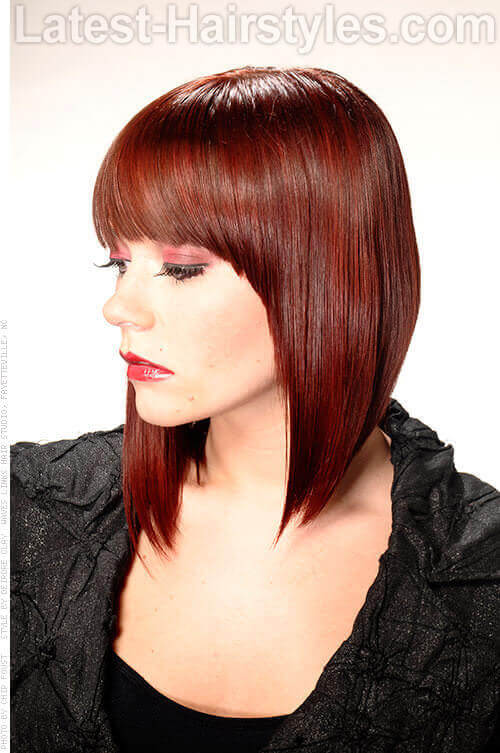 Asymmetrical Hairstyle with Heavy Fringe Side View