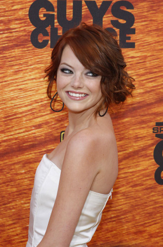 emma stone hair loose updo