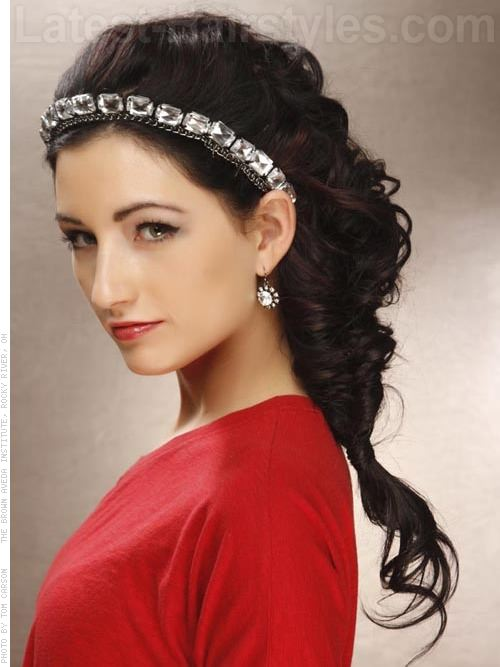 Beautifully Bejeweled Long Side Hairstyles For Prom - Side View