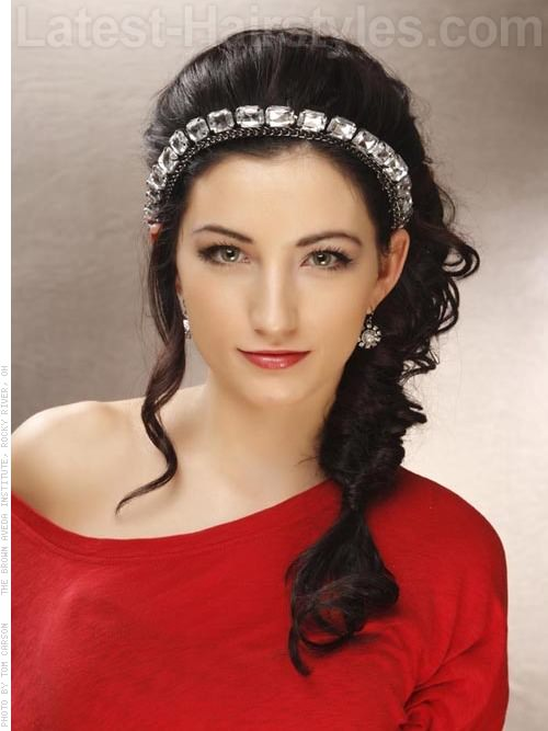 Beautifully Bejeweled Long Loose Side Hairstyles For Prom