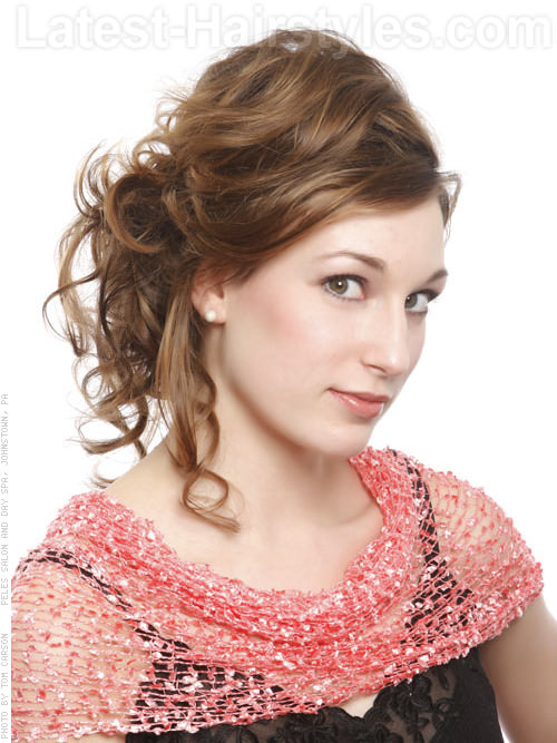 Contemporary Cutie Curly Prom Hairstyle Side View