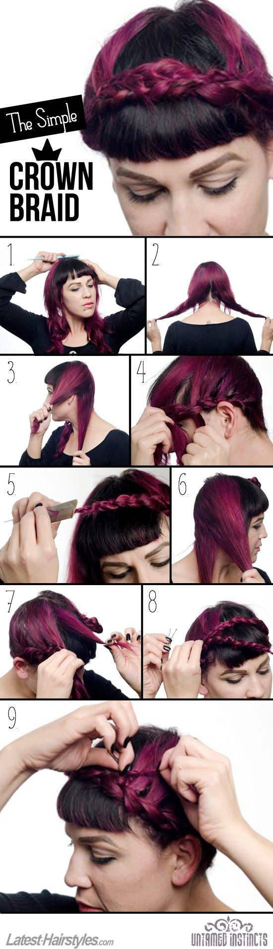 Crown braid hair tutorial
