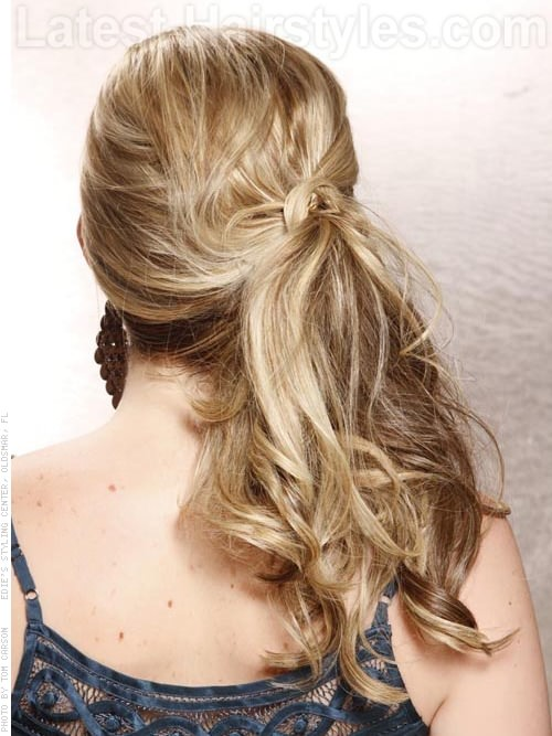 Knot Refined Lovely Long Blonde Style - Tousled Ponytail - with Side Knot Back View