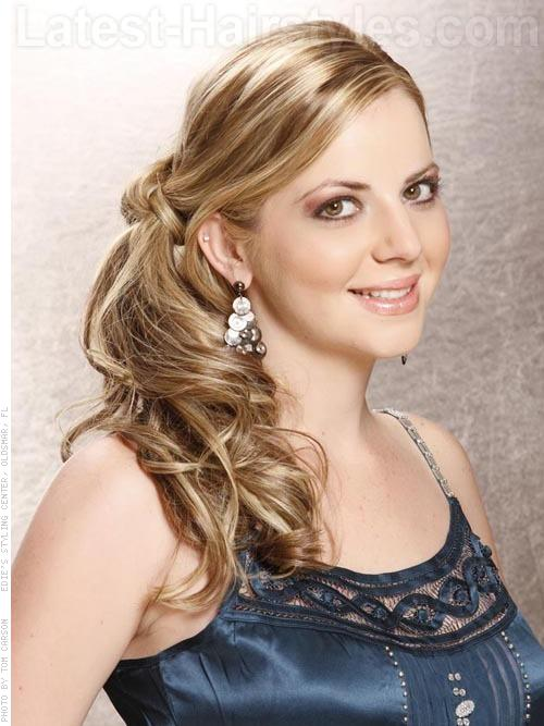 Knot Refined Lovely Long Blonde Prom Side Hairstyle with Side Knot