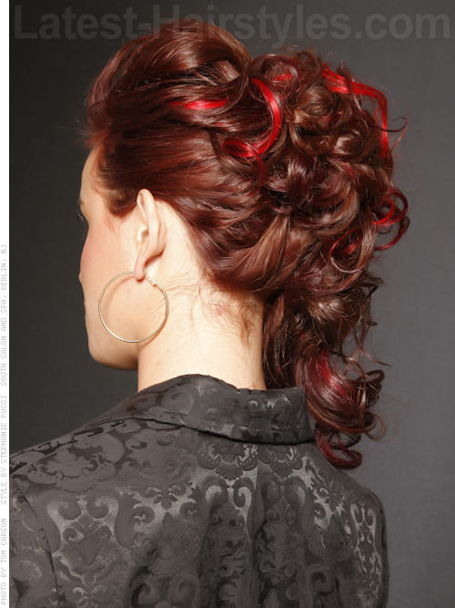 Long Red Curly Style for Prom with Peek-a-Boo Highlights - Back View