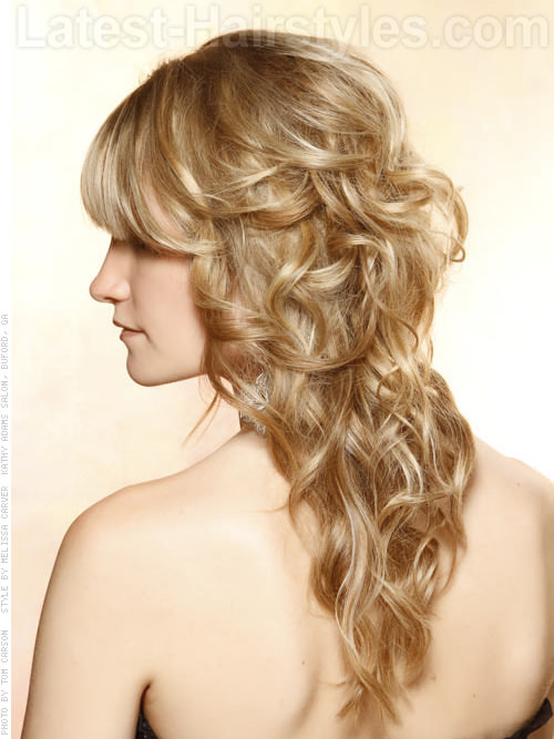 Luxurious Loose Waves Stunning Style with Long Waves and Bangs Side View