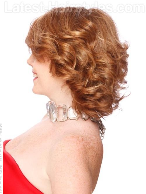 Medium Red Style with Curls and Layers Side View