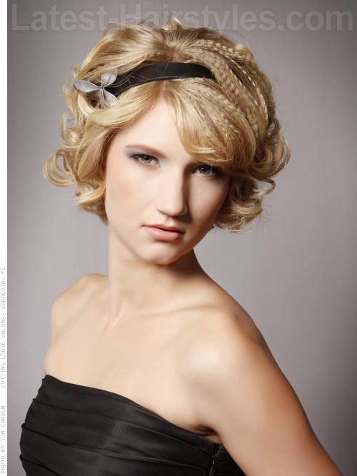 Multi Texture Crimped and Curled Long Hair Updo with Headband