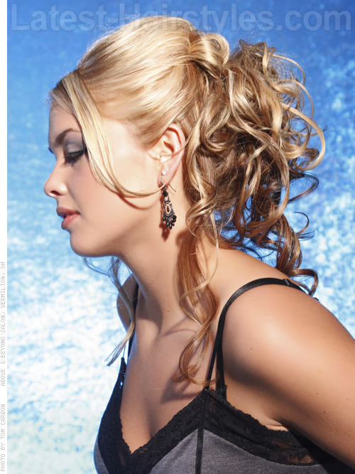 Party Princess Loose Hairstyle For Prom with Face-Framing Tendrils - Side View