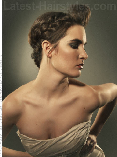 Preppy Poof Long Braided Updo for Prom - Side Braids
