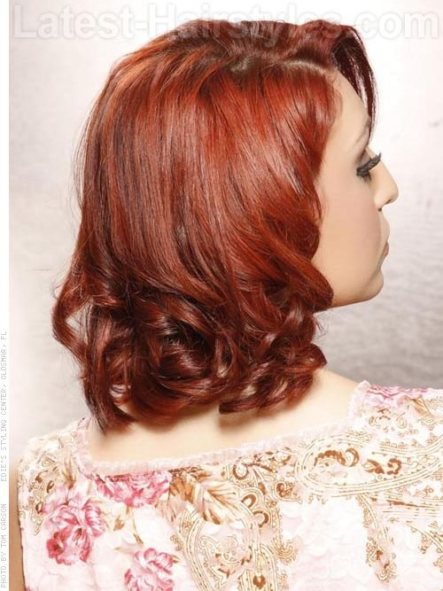 Retro Beauty Classic Style with Curls and Side Part Back View