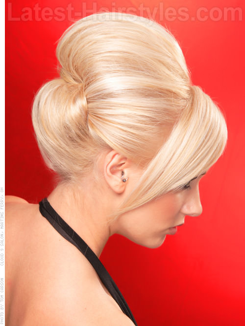 Retro Meets Modern Sculpted Prom Updo Back View