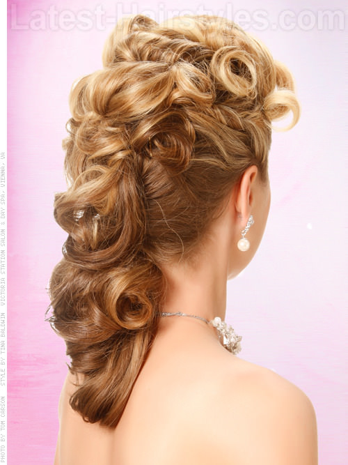 Retro Southern Belle Glamorous Updo for Prom Back View