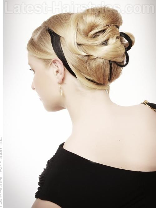 Ribboned Up Updo for Long Hair Back View