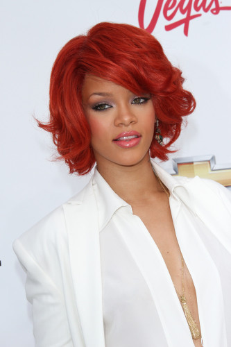 Rihanna red bob hairstyle