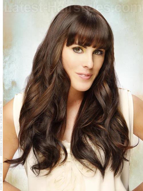 Long Brunette Curly Hairstyle For Prom With Bangs