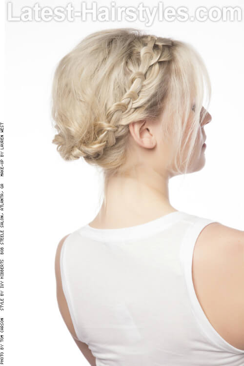 Hairstyle with Braided Crown and Sweeping Bangs Back