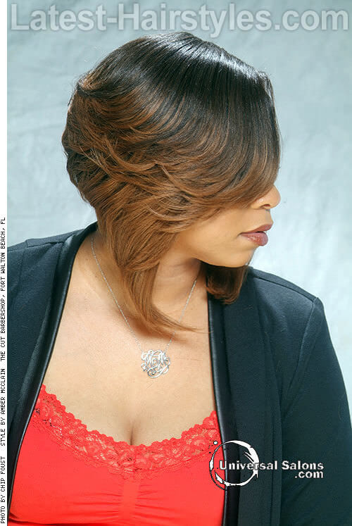 Inverted Layered Bob with Sweeping Fringe Side