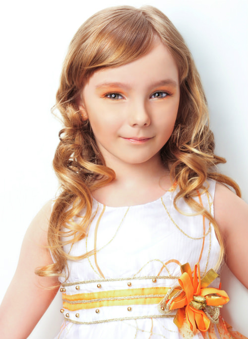Long Kids Hairstyle with Large Soft Curls cropped