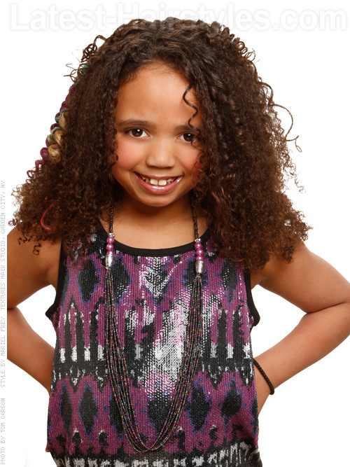Long Layered Kids Hairstyle with Curls