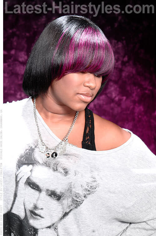 Playful Purple Fringe on Short Hair Side