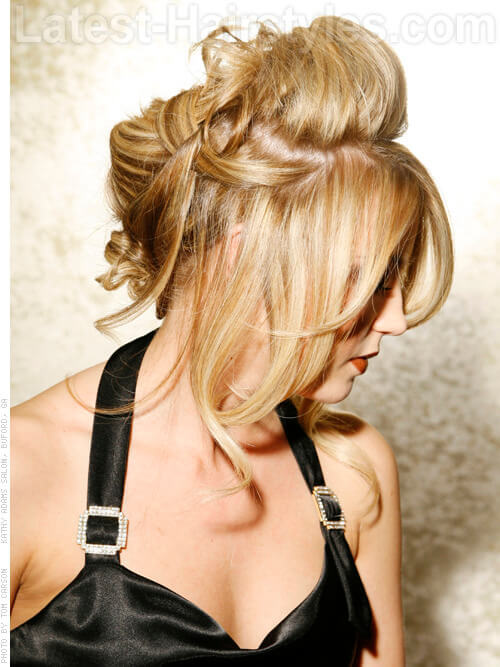Sexy Updo with Long Sweeping Bangs Side
