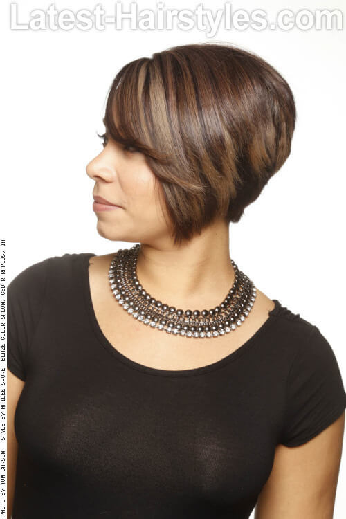 Sleek Bob Hairstyle with Bangs Side