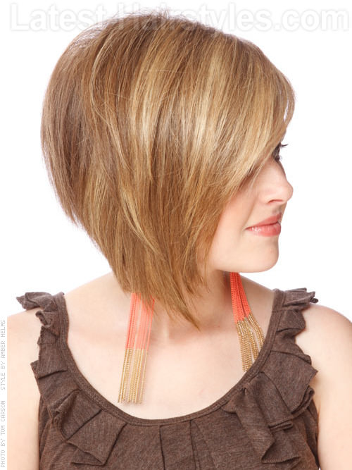 Asymmetric Bob Hairstyle with Attitude Highlighted Cut Side View