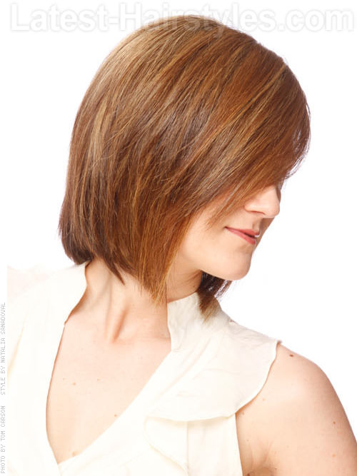 Balancing Act Sleek Brunette Layered Bob Side View