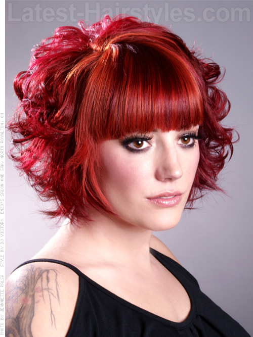 Curly Girly Red Bob with Curls and Bangs