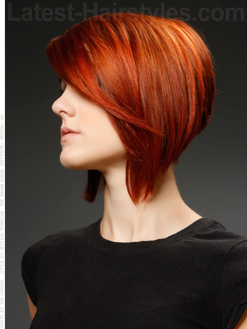 Deep Red Casual Bob Sweeping Layers