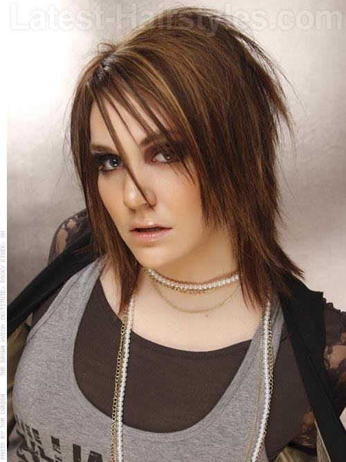 Emo Romance Messy Spiky Medium Shag Hairstyle