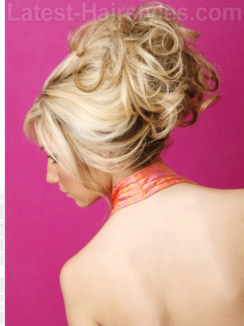 Fancy Fringe Updo Back View with Curls