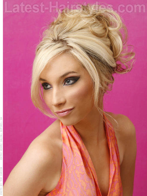 Fancy Fringe Pretty Updo With Side Swept Pieces