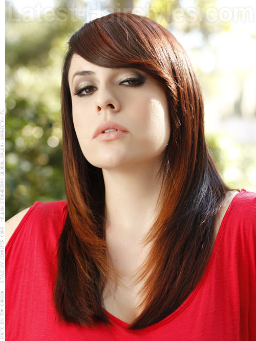 Long Brown Casual Style with Front Side-Swept Bangs and Red Highlights