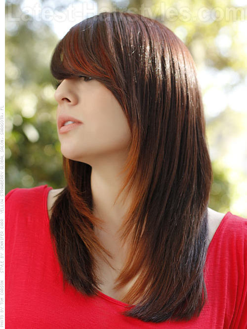 Long Brown Casual Style with Front Bangs