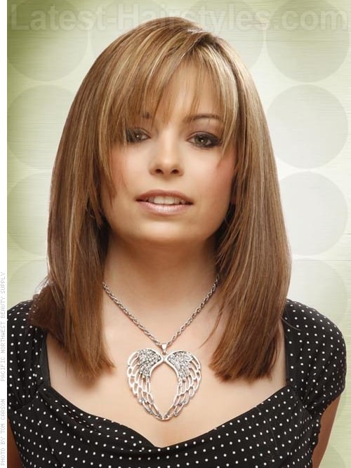 Long Layered Bob Highlighted Look with Bangs Front View