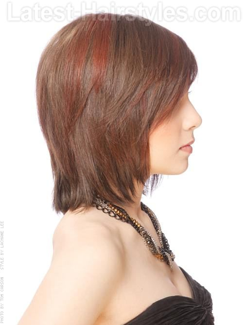 Medium Brunette Long Bob with Layers Side View