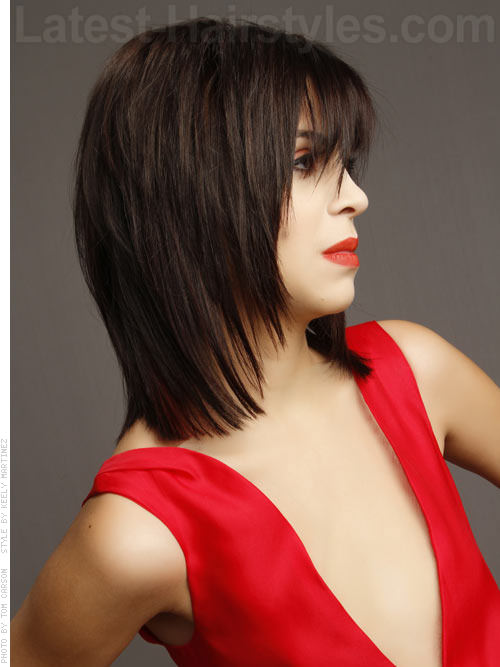 Rocker Chic Medium Shag Hairstyles Side View