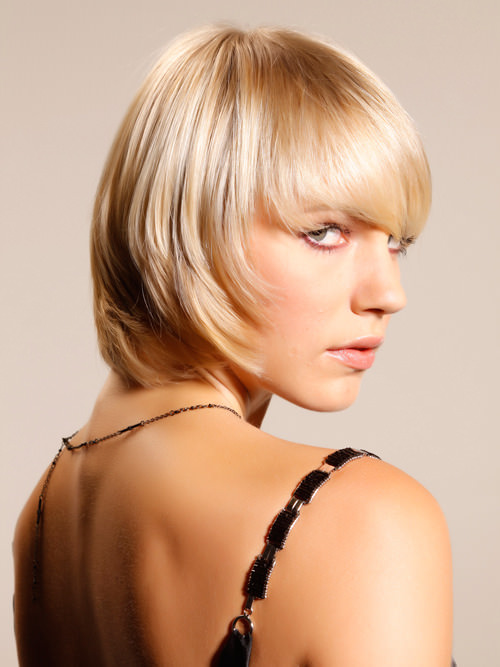 Short Blonde Textured Layered Bob with Long Fringe Side View