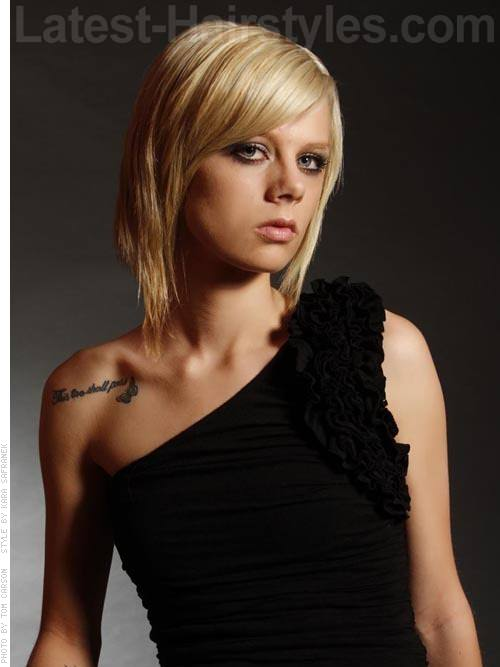 Swooped Shorty Blonde Side-Swept Bangs Style Tapered Front