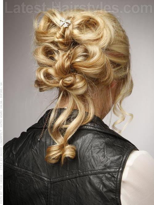 Take a Bow Blonde Updo with Side Tendrils Bow Style