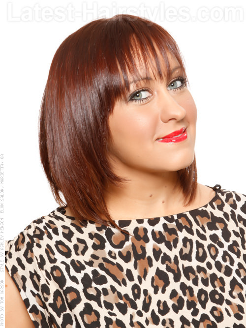 The Fringe Shiny Long Layered Brunette Bob