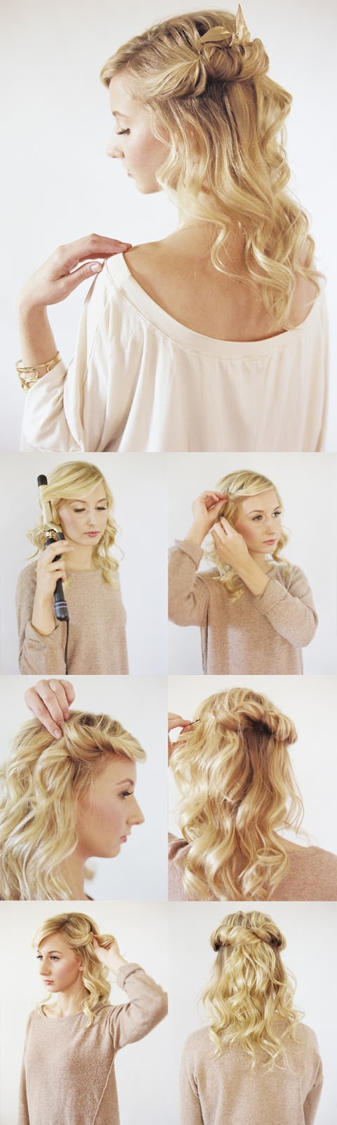 loose halo romantic hairstyle