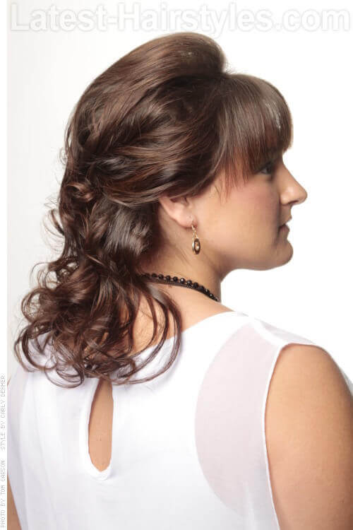 Medium Pinned Back Hairstyle with Curls Side