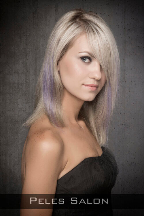 Medium Shag Haircut with Pastel Underlights