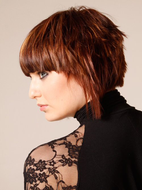Brunette Streaked Medium Bob with Bangs Side View